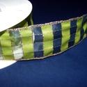 Szalag (51. minta/1 m) - zöld kockás, Textil,    Taft szalag (51. minta) - zöld kockás - arany csíkokkal - dróttal  A taft tekercs sűrű, fé..., Alkotók boltja