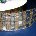 Szalag (52. minta/1 m) - arany/kék kockás, Textil,  Taft szalag (52. minta) - arany kockás - kék csíkokkal - dróttal  A taft tekercs sűrű, fénye..., Alkotók boltja