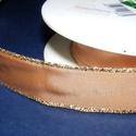 Szalag (8. minta/1 m) - világosbarna/arany lurex, Textil,  Taft szalag (8. minta) - világosbarna - arany lurex szegéllyel - dróttal  A taft tekercs sűrű,..., Alkotók boltja