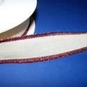 Textilszalag (135. minta/1 m) - natúr/bordó, Textil,  Textilszalag (135. minta) - natúr - bordó szegéllyel  Mérete: 2,5 cm  Az ár 1 méter szalagra ..., Alkotók boltja