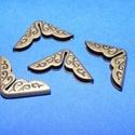 Fémsarok (7. minta/1 db) - 14x14 mm, Csat, karika, zár,  Fémsarok (7. minta) - bronz színben - díszes    Elsősorban könyvek, albumok sakainak dekorálásáho..., Alkotók boltja