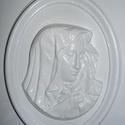 Vallás-4 - gipszöntő forma (1 motívum) - Mária fej keretben, Egyéb szerszám, eszköz, Gipszöntés,      Vallás-4 - gipszöntő forma - angyal kürttel  Mérete: - sablon: 26x32 cm- minta: 27x21 cm Az ár..., Alkotók boltja