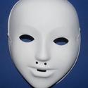 Festhető műanyag álarc (14x18 cm/1 db) - fehér, Papírmasé,  Festhető műanyag álarc - fehér  Mérete: 14x18 cm  Az álarc akril festékkel festhető, illetv..., Alkotók boltja