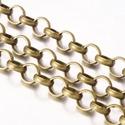 Bronz színű lánc (23/A minta/1 m) - 7x2 mm, Gyöngy, ékszerkellék,  Bronz színű lánc (23/A minta) - nagy szemű- ólom- és nikkelmentes -   A szem mérete: Ø 7 mm..., Alkotók boltja