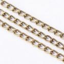 Bronz színű lánc (59. minta/1 m) - 3x2,2x0,6 mm, Gyöngy, ékszerkellék,  Bronz színű lánc (59. minta)  A szem mérete: 3x2,2x0,6 mm  A feltüntetett ár 1 méter láncra..., Alkotók boltja