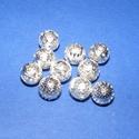 Díszes gömb (670. minta/10 db), Gyöngy, ékszerkellék,  Díszes gömb (670. minta) - ezüst színben - áttört mintával - belül üreges  Mérete: 8 mm ..., Alkotók boltja