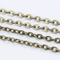 Bronz színű lánc (30. minta/1 m) - 3x2x0,6 mm, Gyöngy, ékszerkellék,  Bronz színű lánc (30. minta)  A szem mérete: 3x2x0,6 mm  A feltüntetett ár 1 méter láncra v..., Alkotók boltja