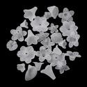Akril gyöngy-66 (20 g/csomag) - matt fehér vegyes virágok, Gyöngy, ékszerkellék, Gyöngy,     Akril gyöngy-66 - matt fehér - vegyes virágok  Mérete: 8-35x5-40x-7-15 mmFurat mérete: 1-2,5 mm..., Alkotók boltja