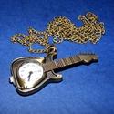 Ékszeróra (gitár) - láncos, Órakészítés, Mindenmás,  Ékszeróra - gitár - láncos - antik bronz színben  Az óra üzemképes, elemmel ellátott.  Mérete: 56x..., Alkotók boltja