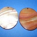 Fúrt kagyló ékszer alap (43. minta/2 db) - barna, Gyöngy, ékszerkellék,  Fúrt kagyló ékszer alap (43. minta) - barna - ovális  Az ékszerkészítés dekoratív kiegész..., Alkotók boltja