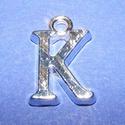 Medál (1 db) - K betű, Gyöngy, ékszerkellék,  Medál (K betű) - ezüst színben  Mérete: 15,5x10x2 mm  Az ár 1 darab termékre vonatkozik...., Alkotók boltja