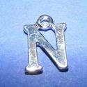 Medál (1 db) - N betű, Gyöngy, ékszerkellék,  Medál (N betű) - ezüst színben  Mérete: 14,5x11x2 mm  Az ár 1 darab termékre vonatkozik...., Alkotók boltja