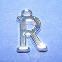 Medál (1 db) - R betű, Gyöngy, ékszerkellék,  Medál (R betű) - ezüst színben  Mérete: 15,5x10x2 mm  Az ár 1 darab termékre vonatkozik...., Alkotók boltja
