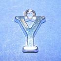 Medál (1 db) - Y betű, Gyöngy, ékszerkellék,  Medál (Y betű) - ezüst színben  Mérete: 15,5x11x2 mm  Az ár 1 db termékre vonatkozik...., Alkotók boltja