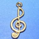 Medál (501/A minta/1 db) - violinkulcs, Gyöngy, ékszerkellék, Ékszerkészítés,  Medál (501/A minta) - violinkulcs - antik arany színben  Mérete: 25x10 mm  Az ár egy darab termékr..., Alkotók boltja