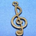 Medál (501/B minta/1 db) - violinkulcs, Gyöngy, ékszerkellék,  Medál (501/B minta) - violinkulcs - antik bronz színben  Mérete: 25x10 mm  Az ár egy darab term..., Alkotók boltja