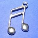 Medál (506. minta/1 db) - hangjegy, Gyöngy, ékszerkellék,  Medál (506. minta) - hangjegy - ezüst színben  Mérete: 27x15 mm  Az ár egy darab termékre von..., Alkotók boltja
