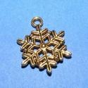Medál (528/A minta/1 db) - hópehely, Gyöngy, ékszerkellék,  Medál (528/A minta) - hópehely - antik arany színű  Mérete: 22x20 mm Az ár 1 db termékre vo..., Alkotók boltja