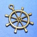 Medál (629. minta/1 db) - hajókormány, Gyöngy, ékszerkellék,  Medál (629. minta) - hajókormány - bronz színben  Mérete: 25x28x3 mm  Az ár egy darab termék..., Alkotók boltja