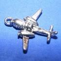Medál (632. minta/1 db) - repülőgép, Gyöngy, ékszerkellék,  Medál (632. minta) - repülő - ezüst színben  Mérete: 23x22 mm Az ár 1 db termékre vonatkoz..., Alkotók boltja