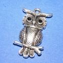 Medál (672. minta/1 db) - bagoly, Gyöngy, ékszerkellék,  Medál (672. minta) - bagoly - ezüst színben  Mérete: 17x31x4 mm  Az ár egy darab termékre von..., Alkotók boltja