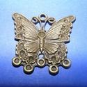 Medál alap (510. minta/1 db) - pillangó, Gyöngy, ékszerkellék,  Kombinált medál és nyaklánc alap (510. minta) - pillangó - antik bronz színben  Mérete: 30x2..., Alkotók boltja