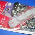 Fém patentozó készlet-6 (Ø 15 mm/1 készlet), Gomb,  Fém patentozó készlet-6 - nikkel színben - kétrészes1-3 mm vastagságú anyagokhoz használha..., Alkotók boltja