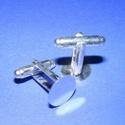 Mandzsettagomb alap (157/A minta/2 db), Gomb, Varrás,  Mandzsettagomb alap (157/A minta) - platinum színben  A gomb mérete: 24 mm (a teljes hosszúság) x ..., Alkotók boltja