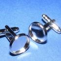 Mandzsettagomb alap (158/B minta/2 db), Gomb, Varrás,  Mandzsettagomb alap (158/B minta) - platinum  színben  A gomb mérete: 18 mm (a teljes hosszúság) ..., Alkotók boltja