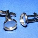Mandzsettagomb alap (158/C minta/2 db), Gomb, Varrás,  Mandzsettagomb alap (158/C minta) - platinum színben  A gomb mérete: 18 mm (a teljes hosszúság) A..., Alkotók boltja