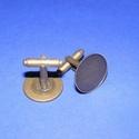 Mandzsettagomb alap (160. minta/2 db), Gomb, Varrás,  Mandzsettagomb alap (160. minta) - antik bronz színben  A gomb mérete: 24 mm (a teljes hosszúság) ..., Alkotók boltja