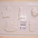 Húsvét-4 - húsvéti gipszöntő forma (5 motívum) - lapos figurák, Szerszámok, eszközök, Egyéb szerszám, eszköz, Gipszöntés,  Húsvét-4 - húsvéti gipszöntő forma- lapos figurák  5 motívum: 3 féle nyuszi, tojás, csibe  Mérete:..., Alkotók boltja