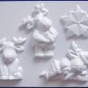 Karácsony-18 - gipszöntő forma (4 motívum) - rénszarvasok, Egyéb szerszám, eszköz, Gipszöntés,  Karácsony-18 - karácsonyi gipszöntő forma  4 különböző minta: 3 rénszarvas, 1 csillag  Mérete:    ..., Alkotók boltja