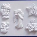 Karácsony-21 - gipszöntő forma (5 motívum) - karácsonyi figurák, Egyéb szerszám, eszköz, Gipszöntés,     Karácsony-21 - karácsonyi gipszöntő forma   5 különböző figura: csillag, gyertya, szarvas, hóem..., Alkotók boltja