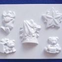 Karácsony-25 - gipszöntő forma (5 motívum) - karácsonyi figurák, Egyéb szerszám, eszköz, Gipszöntés,     Karácsony-25 - karácsonyi gipszöntő forma   5 különböző figura: csillag, 2 féle maci, szarvas, ..., Alkotók boltja