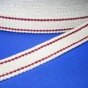 Gurtni (25 mm/1 m) - fehér/bordó, Textil,   Gurtni - fehér - piros csíkkal  Kiváló minőségű, nagyon erős pamut alapanyagú klasszikus ..., Alkotók boltja