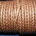 Fonott bőrszíj - 5 mm (9. minta/0,5 m) - antik sötétbarna, Vegyes alapanyag, Egyéb alapanyag, Bőrművesség,  Fonott bőrszíj (9. minta) - antik sötétbarnaValódi bőr alapanyagból készült fonott, hengeres szíj...., Alkotók boltja