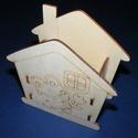 Fa ceruzatartó (lapraszerelt/1 db) - házikó békával, Fa, Egyéb fa,  Fa ceruzatartó - lapraszerelt - házikó békával  Mérete: 12x12x5 cm Anyaga: natúr rétegelt lemez  A..., Alkotók boltja
