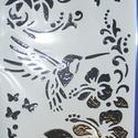 Sablon-11 (30x21 cm/1 db) - kolibri, Szerszámok, eszközök, Mindenmás,  Sablon-11 - kolibri  Rugalmas, műanyag sablon festékhez és struktúrpasztához.Közvetlenül a használ..., Alkotók boltja