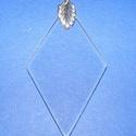 Üvegmedál-2/A (45x25 mm/1 db) - rombusz, Gyöngy, ékszerkellék,  Üvegmedál-2/A - rombusz - ezüst színű medáltartóval  Mérete: 45x25x2 mm  Az ár 1 darab medálra vona..., Alkotók boltja