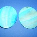 Fúrt kagyló ékszer alap (44. minta/2 db) - türkiz, Gyöngy, ékszerkellék,  Fúrt kagyló ékszer alap (44. minta) - türkiz - ovális  Az ékszerkészítés dekoratív kiegé..., Alkotók boltja