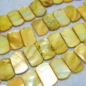 Fúrt kagyló ékszer alap (85. minta/4 db) - sárga, Gyöngy, ékszerkellék,  Fúrt kagyló ékszer alap (85. minta) - sárga   Az ékszerkészítés dekoratív kiegészítője ..., Alkotók boltja