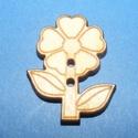 Fagomb (72. minta/1 db) - virág, Fa,  Fagomb (72. minta) - virág    Mérete: 3x2,5 cm Furat: 2 mmAnyaga: natúr rétegelt lemezAnyagva..., Alkotók boltja