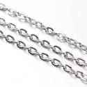 Nikkel színű lánc (4/A minta/1 m) - 4,1x3x0,8 mm, Gyöngy, ékszerkellék,  Nikkel színű lánc (4/A minta)  A szem mérete: 4,1x3x0,8 mm A feltüntetett ár 1 méter láncra vonatk..., Alkotók boltja