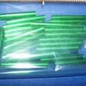 Szalmagyöngy-31 (hosszú/30 db) - fényes zöld, Gyöngy, ékszerkellék,  Szalmagyöngy-31 - fényes - fémhatású - zöld - hosszú  Anyaga: üvegMérete: 19 mmÁtmérő: ..., Alkotók boltja