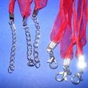 Organza nyaklánc alap (9. minta/1 db) - piros, Gyöngy, ékszerkellék,  Organza nyaklánc alap (9. minta) - pirosNyaklánc alap szerelt: nikkel színű kapoccsal és lánc..., Alkotók boltja