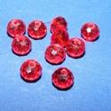 Csiszolt üveggyöngy-4 (4x6 mm/10 db) - piros, Gyöngy, ékszerkellék, Alkotók boltja
