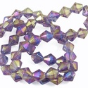 Csiszolt üveggyöngy-50 (6x6 mm/15 db) - irizáló lila gyémánt, Gyöngy, ékszerkellék, Gyöngy,  Csiszolt üveggyöngy-50 - irizáló lila gyémánt  Mérete: 6x6 mmFurat: 1 mm  Kiszerelés: 15 db/csomag..., Alkotók boltja