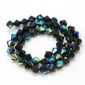 Csiszolt üveggyöngy-51 (6x6 mm/15 db) - irizáló fekete gyémánt, Gyöngy, ékszerkellék, Gyöngy,  Csiszolt üveggyöngy-51 - irizáló fekete gyémánt  Mérete: 6x6 mmFurat: 1 mm  Kiszerelés: 15 db/csom..., Alkotók boltja