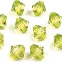 Csiszolt üveggyöngy-36 (4x4 mm/20 db) - halvány zöldessárga gyémánt, Gyöngy, ékszerkellék,  Csiszolt üveggyöngy-36 - halvány zöldessárga gyémánt  Mérete: 4x4 mmFurat: 1 mm  Kiszerelé..., Alkotók boltja